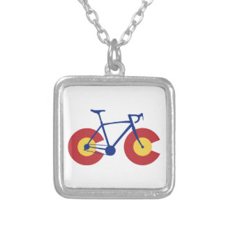 Colorado Flag Bicycle Silver Plated Necklace
