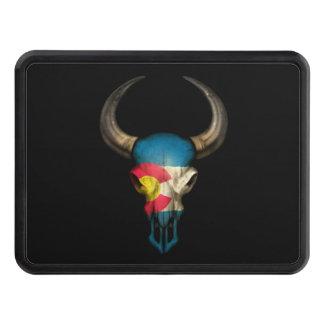 Colorado Flag Bull Skull Trailer Hitch Cover