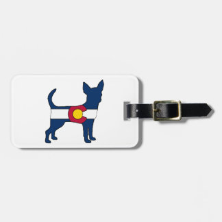 Colorado flag chihuahua dog luggage tag