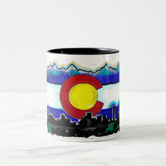Colorado flag denver skyline artistic coffee mug