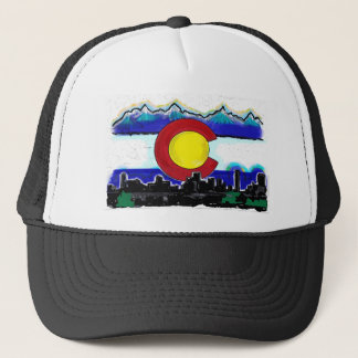 Colorado flag denver skyline artistic deco hat