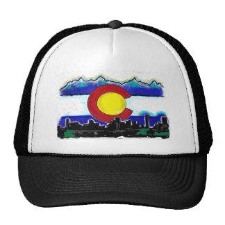 Colorado flag denver skyline artistic deco hat