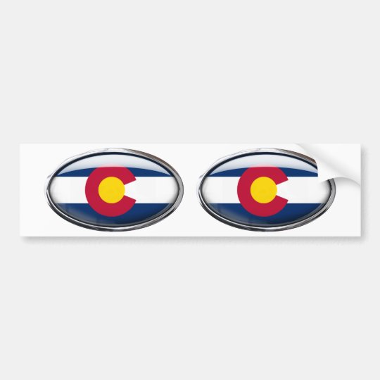 Colorado Flag Glass Oval Bumper Sticker