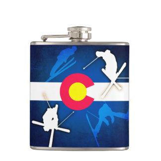 Colorado flag grunge skier flask