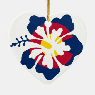Colorado flag hibiscus flower heart ornament