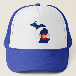 Colorado flag Michigan outline trucker hat
