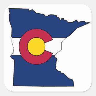 Colorado flag Minnesota outline square stickers