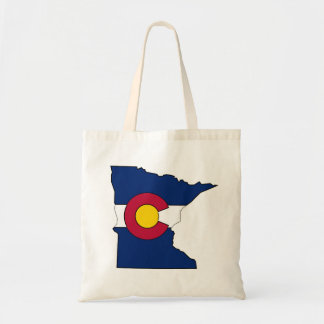 Colorado flag Minnesota outline tote bag
