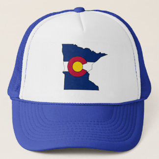 Colorado flag Minnesota outline trucker hat