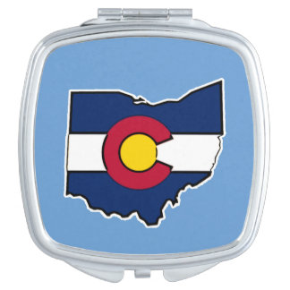 Colorado flag Ohio outline compact mirror