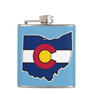 Colorado flag Ohio outline flask
