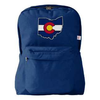 Colorado flag Ohio outline navy blue backpack