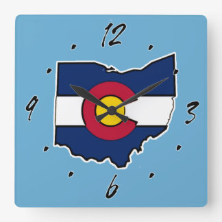 Colorado flag Ohio outline square wall clock