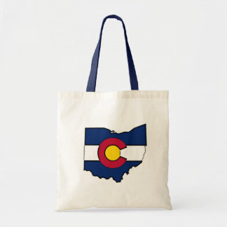 Colorado flag Ohio outline tote bag