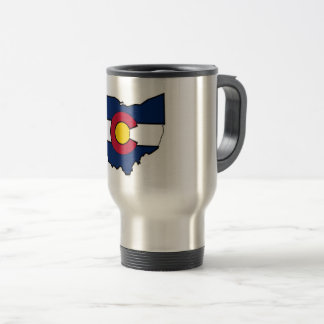 Colorado flag Ohio outline travel mug