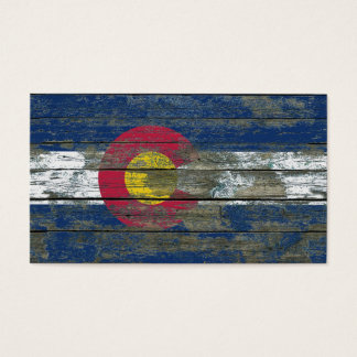 Colorado Flag on Rough Wood Boards Effect Business Card