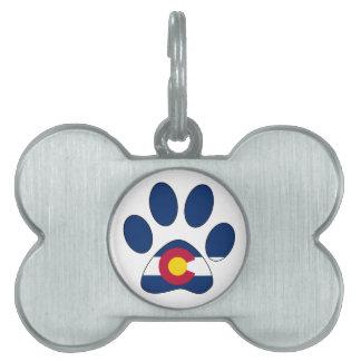 Colorado flag paw print bone shape pet tag