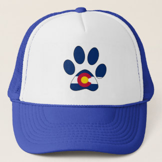 Colorado flag paw print trucker hat