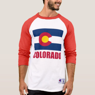 Colorado Flag Red Text T-Shirt