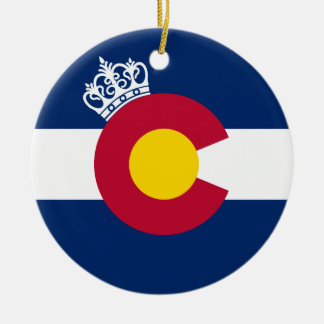 Colorado flag royal crown round holiday ornament