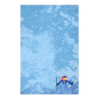 Colorado flag skier winter scene stationary stationery