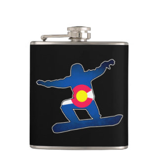 Colorado flag snowboarder drinking flask