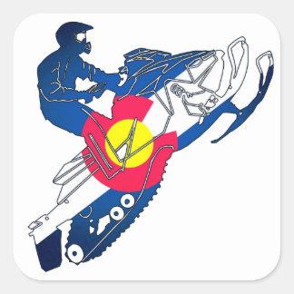 Colorado flag snowmobile square stickers