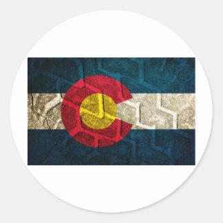Colorado Flag Tire Tread Round Sticker