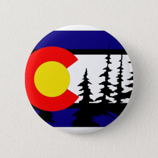 Colorado Flag Tree Silhouette 2 Inch Round Button