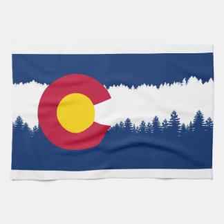 Colorado Flag Treeline Silhouette Kitchen Towel