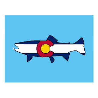 Colorado flag trout fish postcard