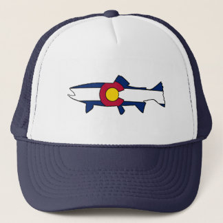 Colorado flag trout fish trucker hat