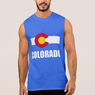 Colorado Flag White Text On Blue Sleeveless Shirt