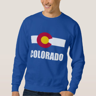 Colorado Flag White Text On Blue Sweatshirt