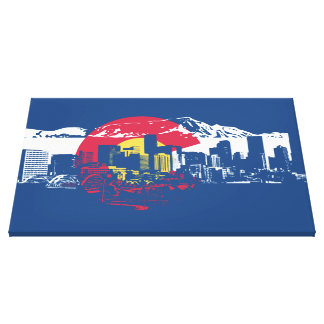 Colorado Flag with Denver Skyline and Rockies Canvas Print