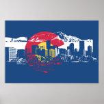 Colorado Flag with Denver Skyline and Rockies Poster