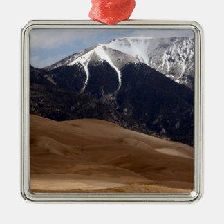 Colorado Great Sand Dunes National Park Souvenir Silver-Colored Square Ornament