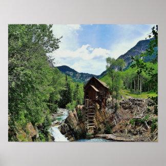 Colorado Hillside Water Mill - Crystal Mill Poster