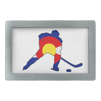Colorado Hockey Player Rectangular Belt Buckles