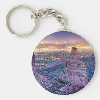 Colorado Independence Monument and City Lights Of Basic Round Button Keychain