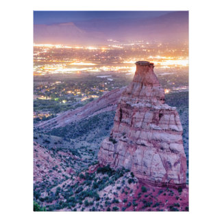 Colorado Independence Monument and City Lights Of Letterhead Design