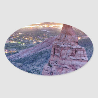 Colorado Independence Monument and City Lights Of Oval Sticker