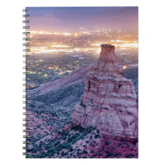 Colorado Independence Monument and City Lights Of Spiral Notebook