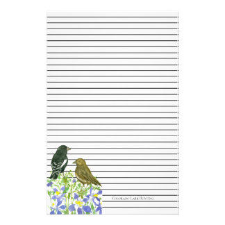 Colorado Lark Bunting State Birds Columbine Lined Stationery