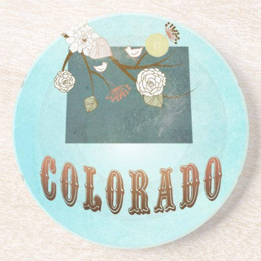 Colorado Map With Lovely Birds Beverage Coasters