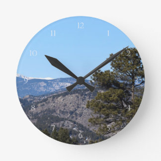 Colorado Mountains Round Clock