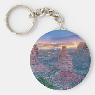 Colorado_National _Monument_City_Lights Basic Round Button Keychain