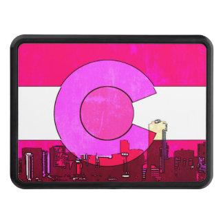 Colorado pink Denver skyline flag hitch cover