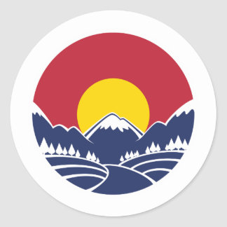 Colorado Rocky Mountain Emblem Classic Round Sticker
