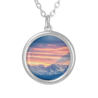 Colorado Rocky Mountain Sunset Waves Of Light Part Silver Plated Necklace